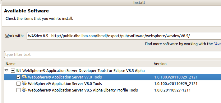 Eclipse Plugin for WebSphere 7.0